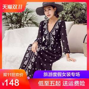 Seaside vacation beach skirt summer national wind V-neck embroidery dress large size was thin wave Simia long dress female