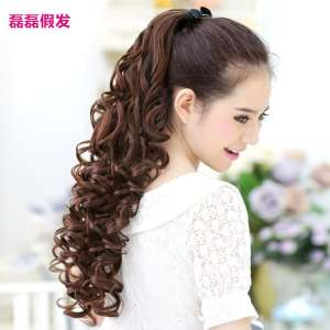 Wigs Pony Big Waves Long Hair Curls Wigs Women Banded Passive Female Holidays Holes