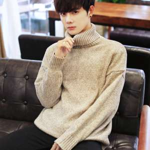 High-necked sweater Men plus cashmere thickened students Harajuku wind autumn and winter round collar bottoming shirt sweater Korean version of the linens