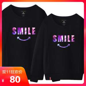 Ohlyah Brand Autumn Couple Starry Smile Long Sleeve Sweater Men & Women Large Size Cartoon T-Shirt Cotton Round Collar Top