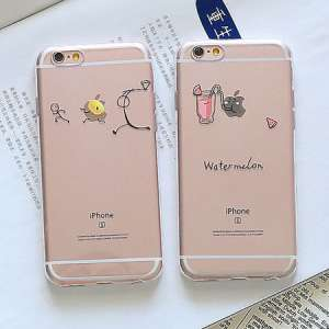 Apple iphone6 ​​phone shell 6splus silicone soft shell creative personality transparent summer day Korean female new