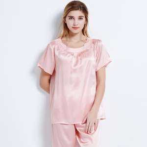 Qualcuno short-sleeved silk pajamas | ladies spring and summer mulberry trousers suit home clothes silk pajamas