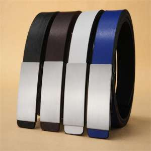 Men 's smooth buckle belt fashion wild teenager hair stylist belt Korean version of the student belt with white