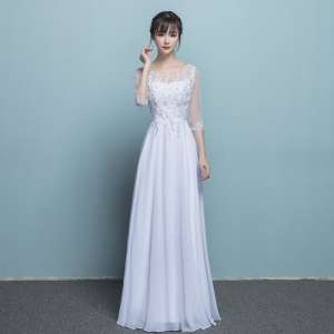 Banquet evening dress female summer party was thin 2017 new fashion host dress white elegant long paragraph Han
