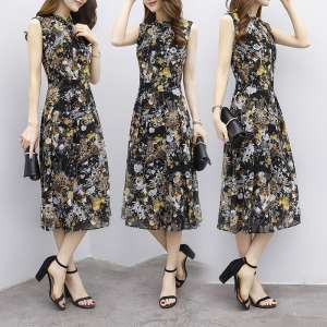 2017 summer new women's large size was thin long skirt Korean Slim dress skirt chiffon floral dress