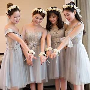 Bridesmaid dress short sisters skirt 2017 new fashion Korean sisters group bridesmaid dress was thin graduation evening dress