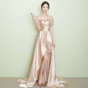 2017 new gold banquet evening dress long before the short after the long show was thin dress small tail wedding dress