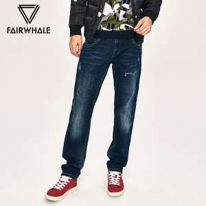 Mark Fairwhale jeans male autumn and winter models cats must wear white hole fashion washed straight tide small trousers