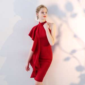 Toast 2017 new winter bridal wedding engagement banquet red back dress dress hanging neck was thin
