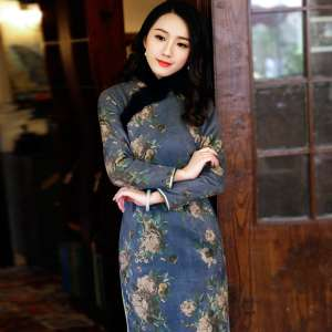 Ruyi wind cheongsam 2017 winter long-sleeved warm in the long section of cotton improved Chinese cheongsam dress 7862
