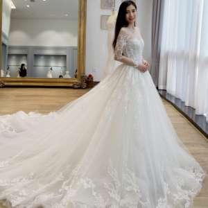 2017 new word long shoulder wedding dress bride wedding court luxury long tail tail to repair the body spring