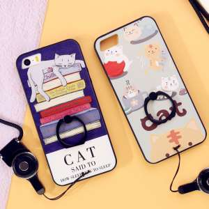 Iphone5s mobile phone shell Apple 5 protective sleeve SE with lanyard ring bracket buckle men and women creative all-inclusive scrub