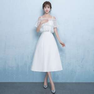Banquet evening dress 2017 new noble and elegant long white party host small dress dress dress