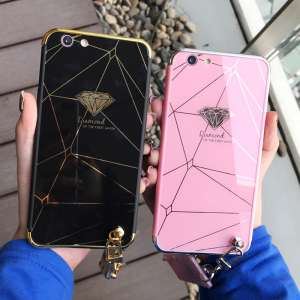 Apple 6s luxury plating diamond mirror iphone6s puls phone shell couple lanyard drop sets of men