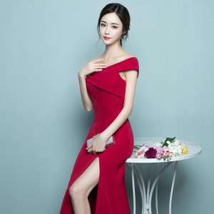 Toast the bride 2017 new summer Slim was thin one hand sexy fish tail wedding evening dress long section spring