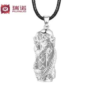 999 sterling silver dragon pillar necklace male | Japan and South Korea version of the retro domineering influx of people pendant personality national wind pendant jewelry