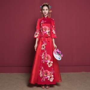 Show the warmth of the bride cheongsam wedding dress 2017 new autumn Chinese wedding dress wedding service wedding dress