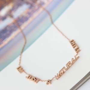 Ancient and modern love | born love discharge nonsense necklace plated rose gold alphabet necklace Korean clavicle chain female
