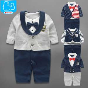Baby clothes fall full moon newborn 0-3-6 months old male baby spring gentleman hundred days with body clothing