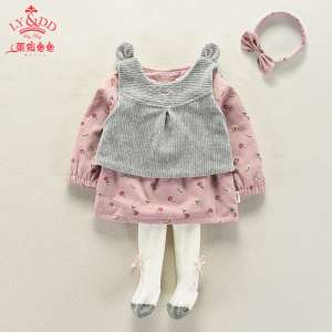 2017 new baby autumn 0-1-2-3 year old female baby Korean version of the fashion set of three sets of spring and autumn girls
