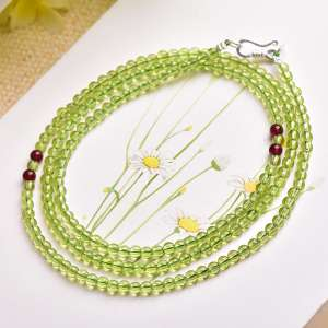Thousand 3.5mm5a grade original natural crystal olivine bracelet men and women garnet four lap hand string jewelry