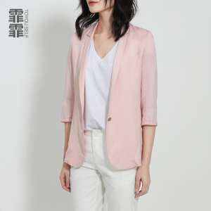 Started falling 2017 spring and summer new Slim was thin linen small suit female pink elegant casual thin suit suit jacket