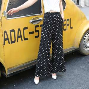Wave point wide leg pants female summer high waist micro-thin thin section loose casual trousers thin pants Korean women's pants