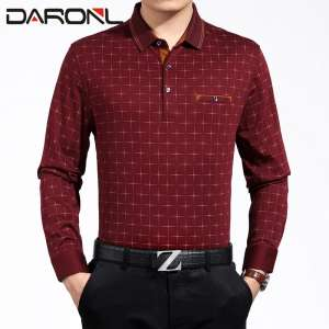 Middle-aged business long sleeve plus size t-shirt casual lapel plaid pocket daddy playboy son card with the paragraph