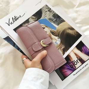 Wallet women 2017 new women's long section of the fight leather girl Japan and South Korea personality students Korean buckle hand bag