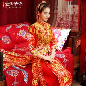 Longfeng gowns wedding dress 2017 new autumn and winter show the warmth of the bride wedding dress Chinese dress toast service suits