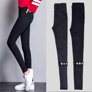 Autumn and winter plus velvet thick leggings women wear 2017 new wild high waist black feet tight pencil pants