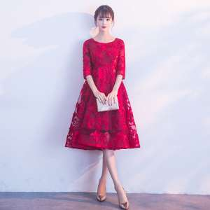 Toast clothing bride red 2017 new autumn and winter wedding lace large size dress back door pregnant women in the long section