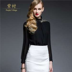2017 new chiffon temperament OL white-collar long-sleeved shirt women's European and American professional wear sexy sexy black shirt