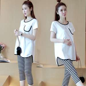 Maternity dress summer set when the fashion section 2017 new Korean pregnant women two sets of sports and leisure suit tide mother