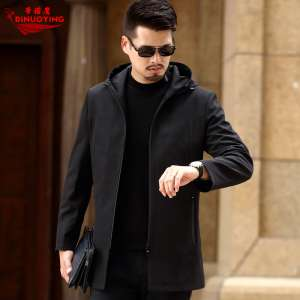 In the long men's jacket solid color leisure hooded shirt business thin men's spring and autumn middle-aged jacket men