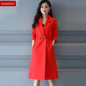 Big red windbreaker female spring autumn bride married back door coat long paragraph toast clothes large size was thin coat