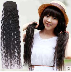 New real hair curly hair piece | large curly hair extension hair piece thick invisible trace effect realistic