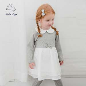 Piggy baby 2017 autumn girl baby lapel Princess stitching dress | baby long-sleeved skirt 0-3 years old
