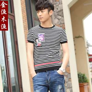 Gold fishing wood fishing 2017 summer men's striped T-shirt short sleeve | small fresh animal printed self-cultivation ice silk sweater