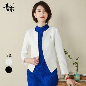 Green is also a small suit spring and autumn 2017 new women's wild occupation Slim pure black white suit short jacket