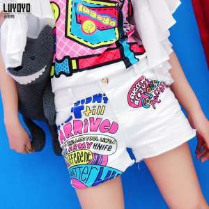 Lu yo yo jeans shorts female 2017 summer new Slim was thin personality personalized printing white casual shorts