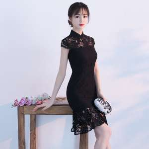 Modified cheongsam dresses spring section 2017 new girls daily ladies lace fish skirt short paragraph black was thin
